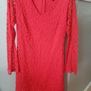 Beautiful coral lace dress